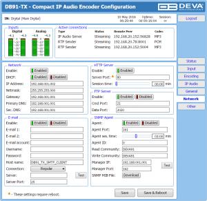 db91-tx Web Interface